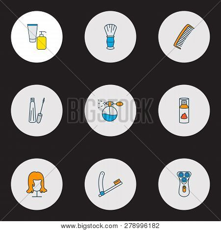 Barbershop icons colored line set with wig, perfume, comb and other hairbrush elements. Isolated vector illustration barbershop icons. poster