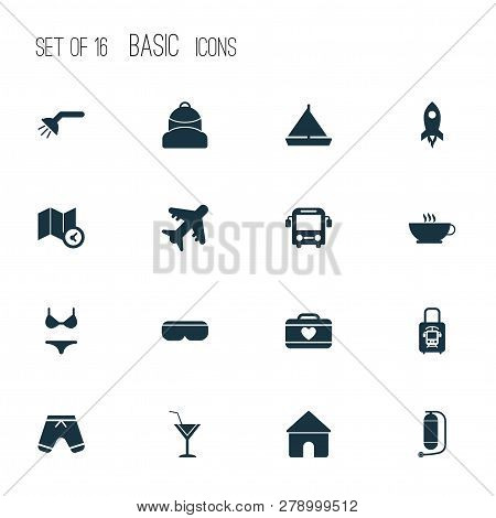 Journey Icons Set With Rocket, Oxygen Cylinder, Backpack And Other Bathroom Elements. Isolated Vecto