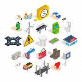 Electro business icons set. Isometric set of 25 electro business vector icons for web isolated on white background poster