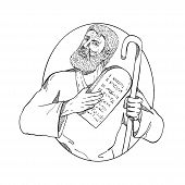 Drawing sketch style illustration of Moses, a prophet in the Abrahamic religions holding the Ten Commandments tablet and his staff set inside oval on isolated white background done in black and white. poster
