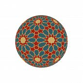 Hexagonal 3d sphere with islamic tessellation pattern. Vector illustration. poster