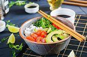 Hawaiian salmon fish poke bowl with rice, avocado, paprika, sesame seeds and lime. Buddha bowl. Diet food. poster