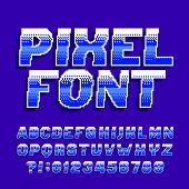 Pixel alphabet font. Digital gradient letters and numbers. Retro 80s arcade video game typescript. poster