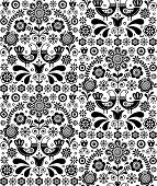 Scandinavian seamless folk art vector pattern, floral repetitive background with birds and flowers, monochrome ornament poster