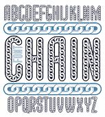 Vector condensed, tall font. Trendy typescript can be used in art creation. Upper case decorative letters created using metal connected chain link. poster