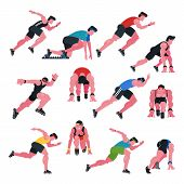 Athlete vector athletic people running and sprinter man character illustration sport training fitness set of jogger sportsman in motion on athletics competition start isolated on white background poster