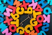 Retro key and Colorful Letters of Alphabet made of wood poster