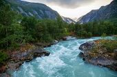 Jostedola river with Nigardsbreen Glacier seen in background, Jostedalsbreen National Park, Sogn og Fjordane, Norway, Scandinavia poster
