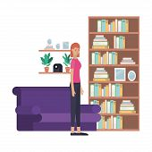 young woman in the livingroom avatar character vector illustration desing poster