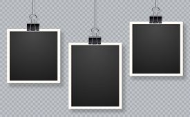 Set Of Photo Frames. Blank Photo Frame Set Hanging On A Clip. Retro Vintage Style. Black Empty Place