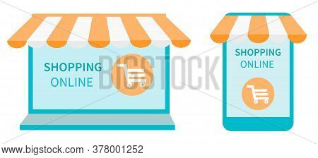 Shopping Online In An Online Store On Laptop And Website, On Smartphone And Mobile Application. Comp