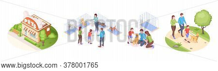 Pets Shelter And Animals Adoption, Family Takes Dog Home, Vector Isometric Set. Happy Family With Ki
