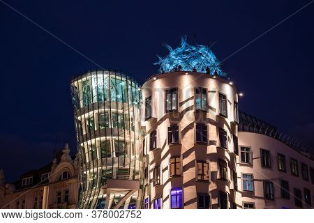 Prague, Czech Republic - July 10 2020: Dancing House Rooftop Terrace Detail Illuminated At Night, Ca
