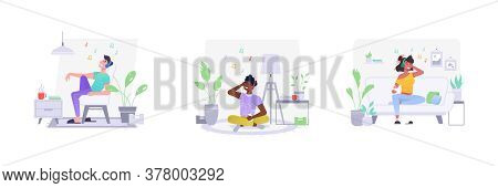 Flat People Characters At Home Listening To Music. Set Of Isolated Adult Man And Teenager Woman With