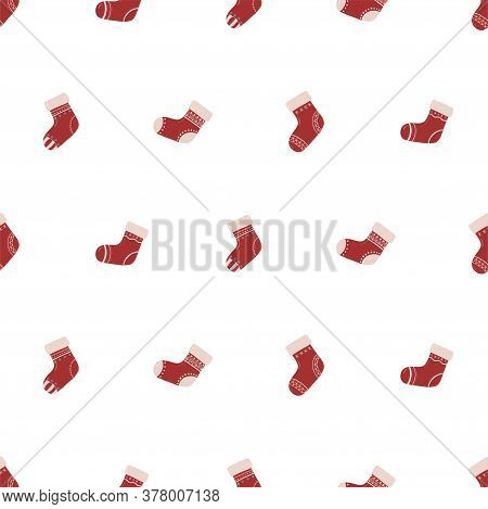 Seamless Pattern With Christmas Sock. Cute Celebration Decoration Card. Simple Vector Illustration.