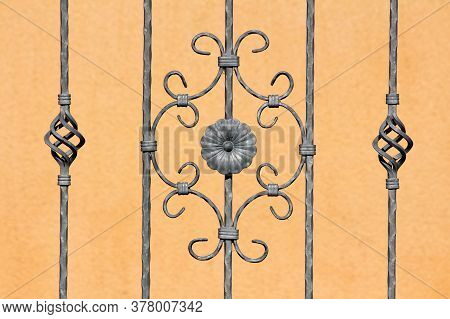 Custom Made Vintage Retro Grey Wrought Iron Fence With Various Small To Large Handmade Decorations I