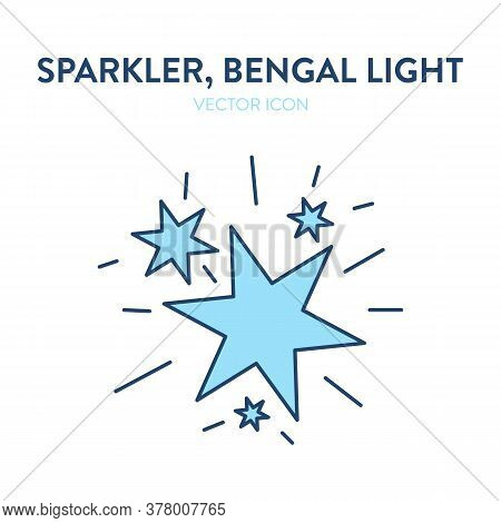 Sparkler Fire Icon. Big Flashes From A Lit Sparkler. Vector Outline Illustration Of An Ignited Benga
