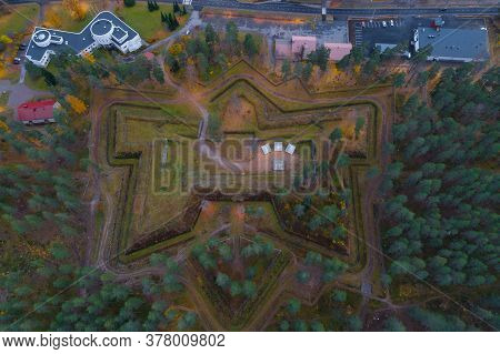Top View Of The Central Bastion Of The Ancient Taavetti Fortress (davydov Fortress) On An October Af