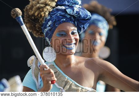 Salvador, Bahia / Brazil - February 2, 2017: Dida Band Members, Percussionists Are Formed By Women,
