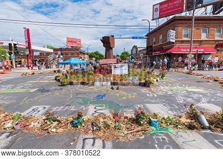Mpls, Mn/usa - June 21, 2020: Memorial At Intersection And Site Of George Floyd's Arrest And Death.