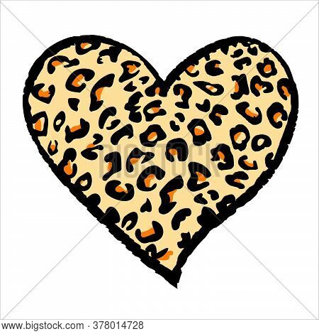 Design For A Shirt Of A Orange Leopard Print Heart Isolated On White