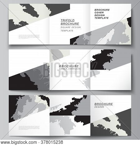Vector Layout Of Square Covers Design Templates For Trifold Brochure, Flyer, Magazine, Cover Design,