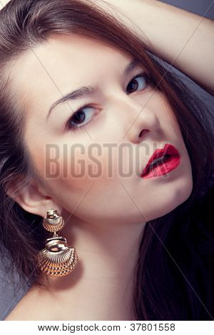 fashion woman with red lips