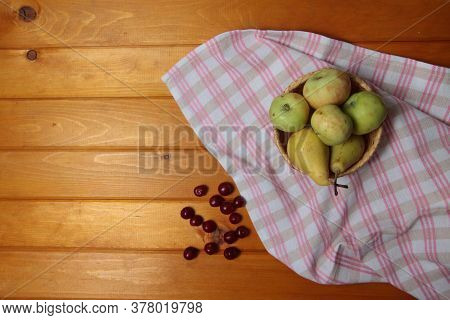 Frail Of Apples And Pears On A Towel And Cherries On Wooden Table Flat Lay. Image Contains Copy Spac