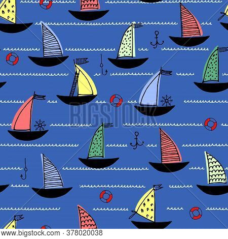 Seamless Pattern With Hand Drawn Sailing Boats, Anchors, Fishhooks, Safety Rings On Dark Blue Backgr