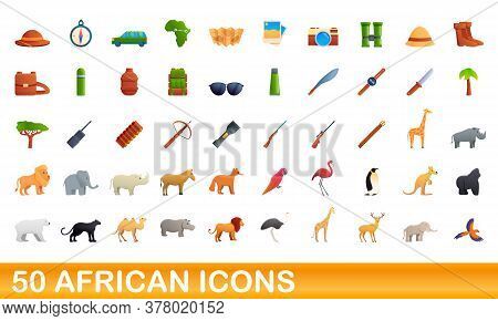 50 African Icons Set. Cartoon Illustration Of 50 African Icons Vector Set Isolated On White Backgrou