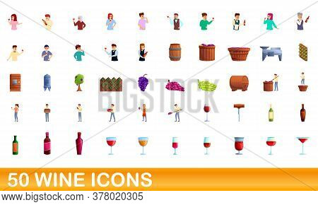 50 Wine Icons Set. Cartoon Illustration Of 50 Wine Icons Vector Set Isolated On White Background