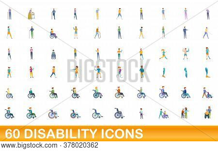 60 Disability Icons Set. Cartoon Illustration Of 60 Disability Icons Vector Set Isolated On White Ba