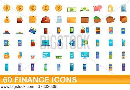 60 Finance Icons Set. Cartoon Illustration Of 60 Finance Icons Vector Set Isolated On White Backgrou