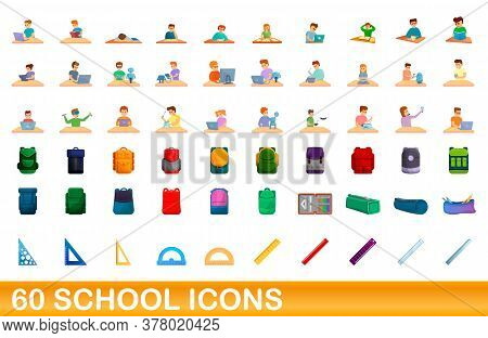 60 School Icons Set. Cartoon Illustration Of 60 School Icons Vector Set Isolated On White Background