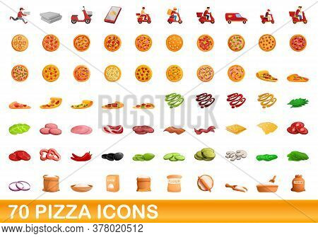 70 Pizza Icons Set. Cartoon Illustration Of 70 Pizza Icons Vector Set Isolated On White Background