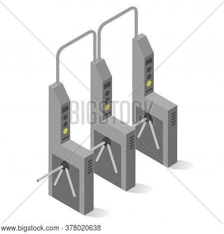 Turnstile Mechanical Gate, Post With Arms And Passageway