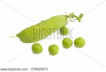 Green Peas Vegetarian  Food  Isolated On White Background