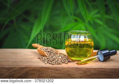 Cbd Hemp Oil, Hemp Oil Extract In Glass Bottles, Medical Marijuana Concept.