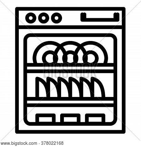 Modern Dishwasher Icon. Outline Modern Dishwasher Vector Icon For Web Design Isolated On White Backg