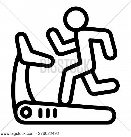 Boy Running At Treadmill Icon. Outline Boy Running At Treadmill Vector Icon For Web Design Isolated