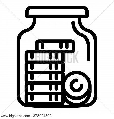 Money Coins In Jar Icon. Outline Money Coins In Jar Vector Icon For Web Design Isolated On White Bac