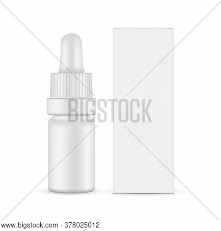 Small Matte Dropper Bottle Mockup And Paper Box Front View, Isolated On White Background. Vector Ill