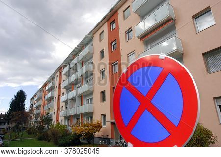 Housing Estate In The City, Apartment Block And No Parking Sign