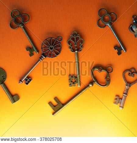 Many Different Old Keys From Different Locks, Scattered Chaotically, Flat Lay. Finding Right Key, En