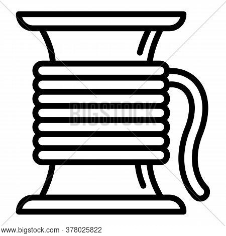 Cord Wire Coil Icon. Outline Cord Wire Coil Vector Icon For Web Design Isolated On White Background
