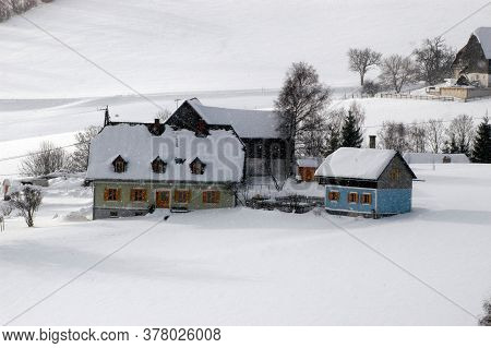 Farmhouse In A Snowy Winter Landscape, Living In The Country