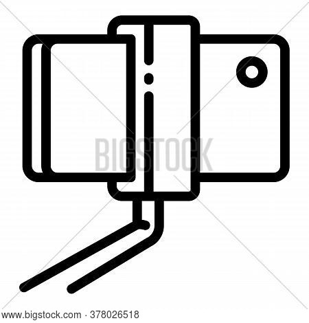 Phone On Selfie Stick Icon. Outline Phone On Selfie Stick Vector Icon For Web Design Isolated On Whi