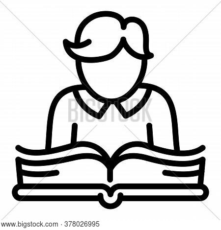 Kid Reading Book Icon. Outline Kid Reading Book Vector Icon For Web Design Isolated On White Backgro