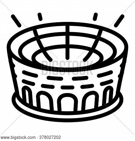Round Sport Arena Icon. Outline Round Sport Arena Vector Icon For Web Design Isolated On White Backg