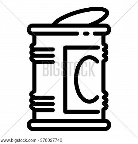 Open Tin Can Icon. Outline Open Tin Can Vector Icon For Web Design Isolated On White Background